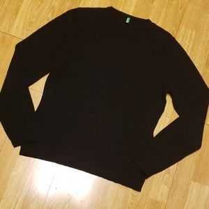Benetton black wool crewneck sweater sz L